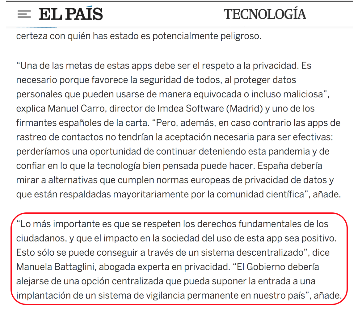El País. La guerra de la app de rastreo del virus: investigadores y gobiernos europeos compiten por su opción