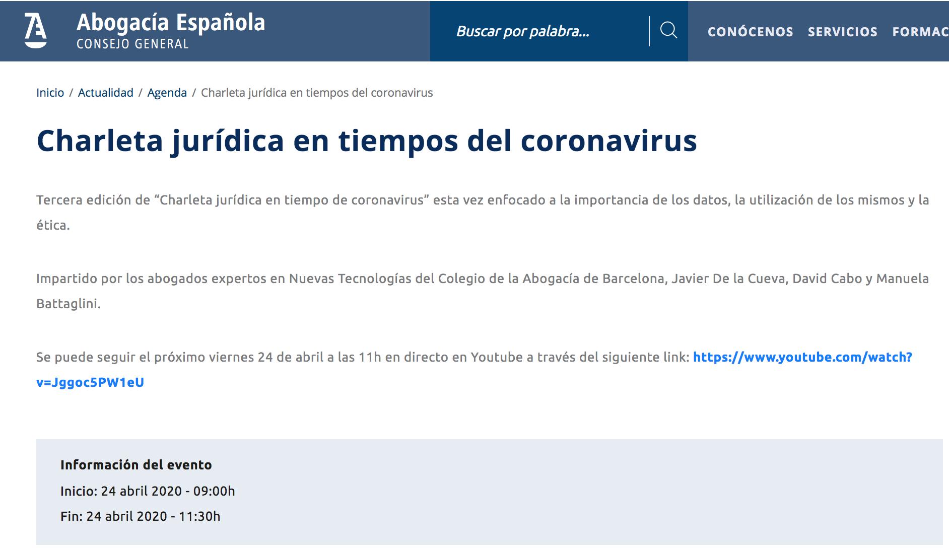 "Abogacía Española. ""Charleta jurídica en tiempo de coronavirus"""