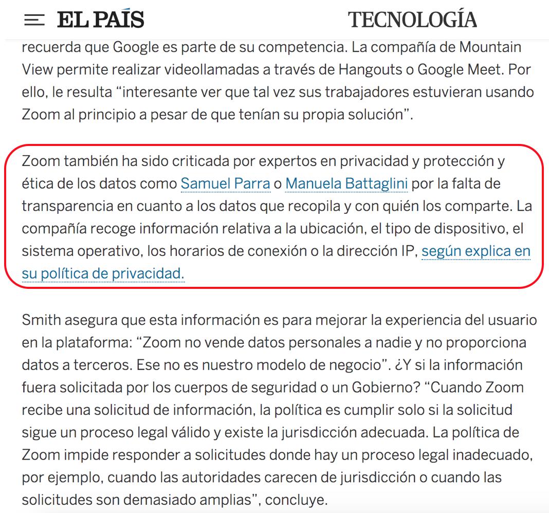 """El País. Zoom: """"Ninguna empresa de 'software' es 100% perfecta"""""""