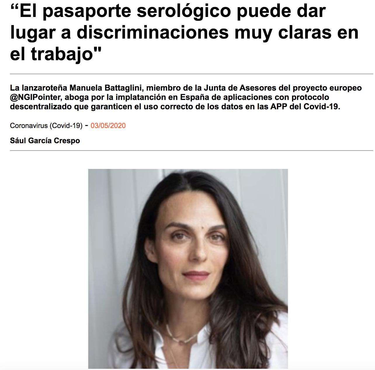 """""""El pasaporte serológico puede dar lugar a discriminaciones muy claras en el trabajo»"""